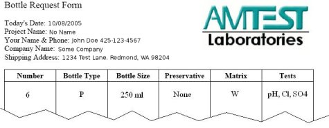 Bottle Form Request Sample